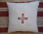 Off White Canvas And Red Swiss Cross Pillow