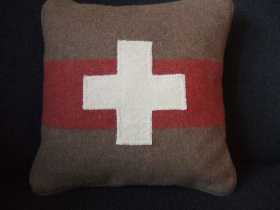 Repurposed Vintage Swiss Army Blanket Pillow By