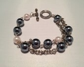 Pink and Gray Pearl Bracelet