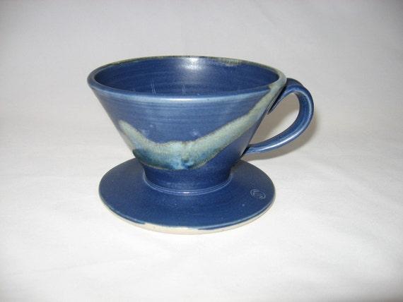 Drip coffee maker / single serving / handmade / blue
