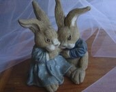 SALE Momma Bunny and Baby boy bunny figurine