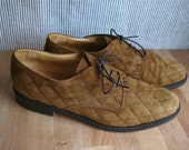 Tan Quilted Suede Oxfords - Size 7 1/2