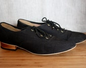 Black Canvas Heeled Oxfords - Size 6 1/2 or 7