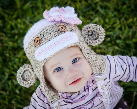 Girl - Sock monkey hat - made to order - NB to 2y