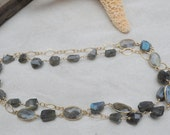 Labradorite and Gold Filled Chain Link Necklace