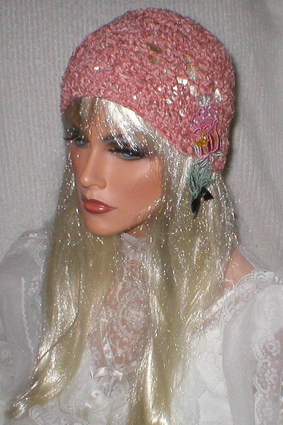 Crochet Evening Style Hand Dyed Venise Lace Tulip Applique Pink Chenille Cloche Hat
