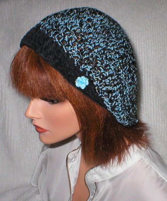 Crochet Women Teens Blue Sparkle Ebony Suede Slouchy Slouch Beret Tam Hat