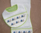 Hand made Embroidered Set Burpie/Bib Little Snail Green