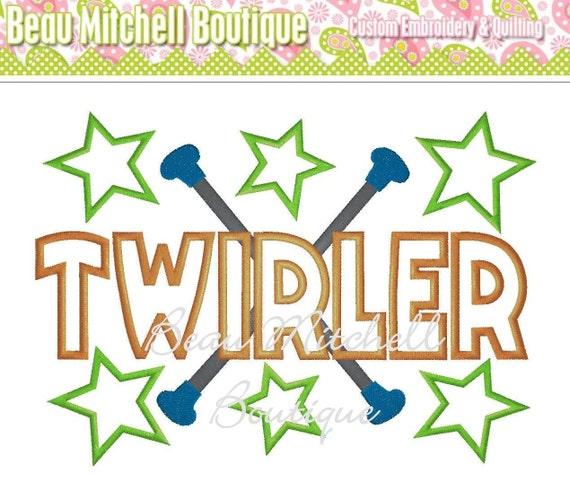 Twirler Applique Embroidery Design