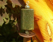 "Green jade jasper stone Wood Shawl Pin - ""Sticks and Stones"""