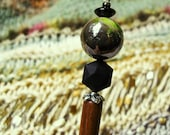"SALE Green Glass Bead  Wooden Shawl Pin or Hair Stick  - ""Sticks and Stones"""