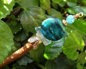 "Green Magnesite Stone Wood Shawl Pin Hair Stick- ""Sticks and Stones"""