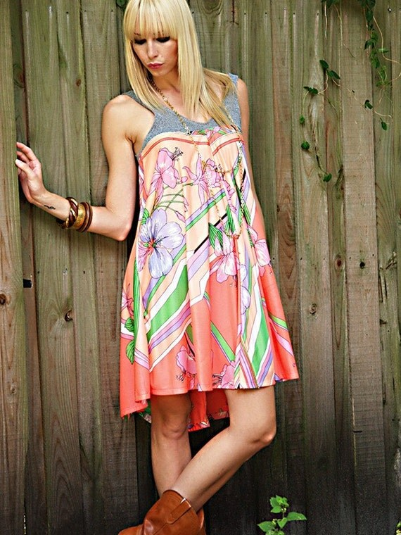 SALE  - 60s Asymmetrical Dress -  Bright Fluorescent Retro Mini Tent Dress - Sustainable Womens Apparel by Tammy Jo