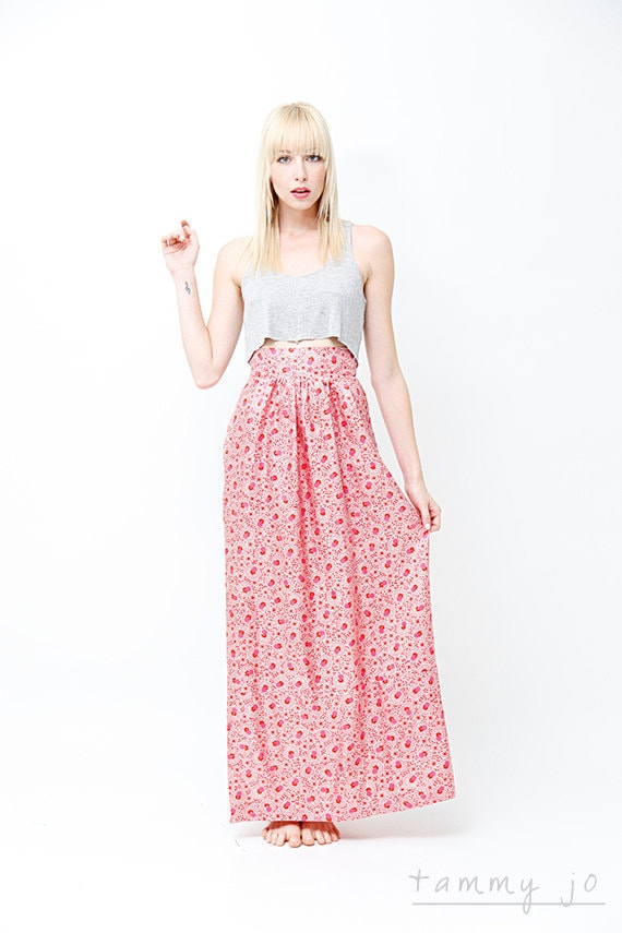 High Waisted Floral Maxi Skirt Bright Fuchsia Pink Silk