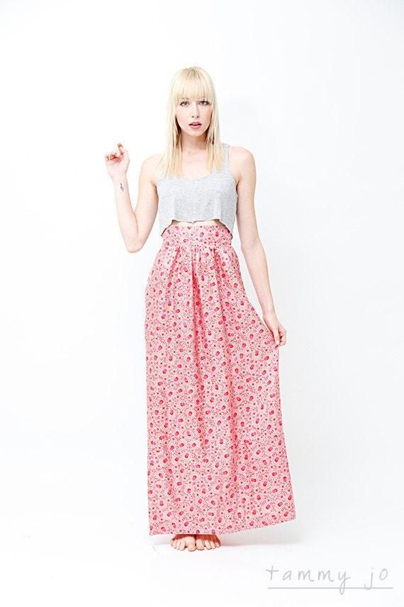 high waisted floral maxi skirt bright fuchsia pink silk