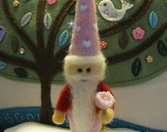 Needle felted I Love You  Gnome with Shimmering Pearl Rose