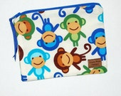 Reusable Snack Bag in Monkey Business Print - Ready to Ship - by Celeste Blake Designs at ETSY