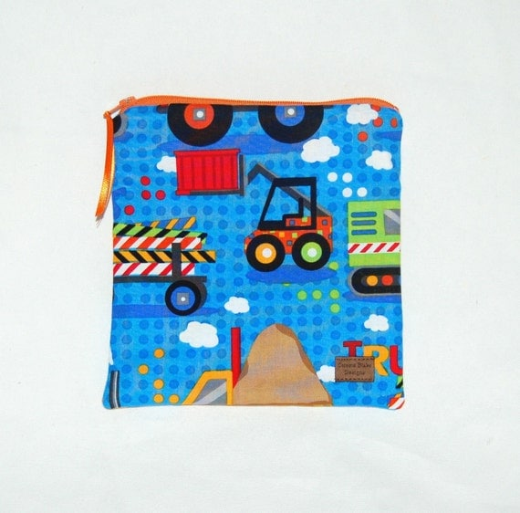Reusable Sandwich Bag in Construction Trucks Print - Ready to Ship - by Celeste Blake Designs at ETSY