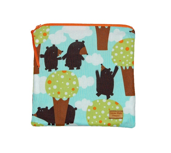 Reusable Sandwich Bag -Bears Clouds and Trees - Ready to Ship