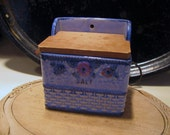Vintage Ceramic Salt Box with Wooden Lid, Hand Painted Old Japan