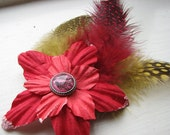 Red Flower Clip with Bird Feather Fascinator - Song Bird