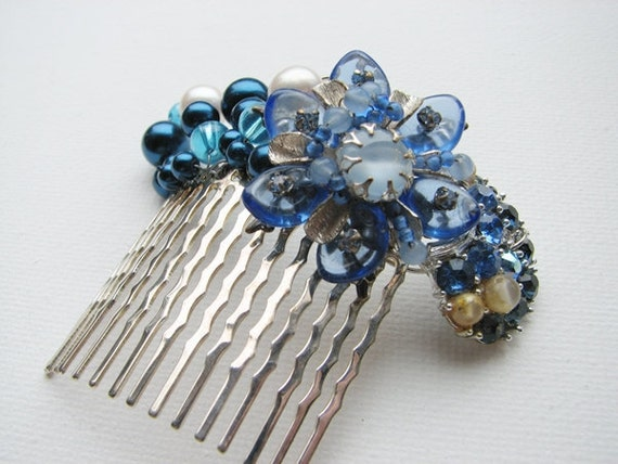 Bridal Vintage Comb Blue Rhinestone Wire Wrapped Curved Comb
