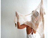 SALE. Dyed and Shredded Triangle Shawl. Wrap.