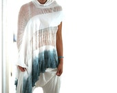 SALE. Dip Dyed and Shredded Poncho. OOAK.