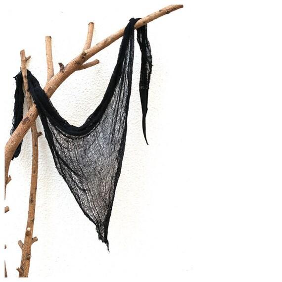 SALE. Shredded Triangle Shawl. Black.