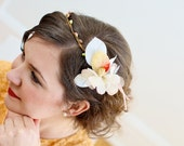 Delicate Silk Flower Crown, Whimsical Headband, Fairy Wedding,  Style No. SS12024