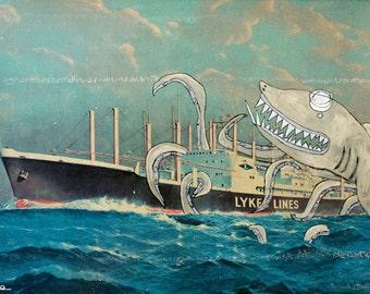 Sharktopus 8.5x11 Art Print