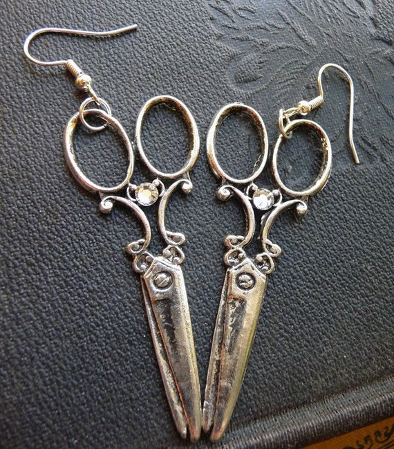 Antique Silver Victorian Scissors Charm Earrings