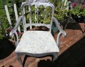Antique Fruit Arm Chair Silver Upcycled
