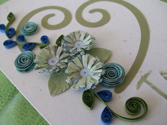 I Love You Card Blue and Green Quilling Valentine