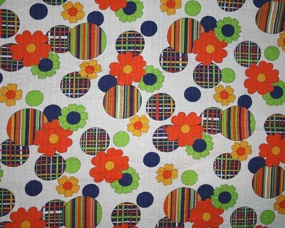 vintage fabric retro orange green blue and yellow floral. Black Bedroom Furniture Sets. Home Design Ideas