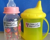 50 CUSTOM ALLERGY LABELS-School,Daycare,Envelope Seal,Sippy Cup,Lunch Box,Water Bottle,Summer Camp,Stationary Tag
