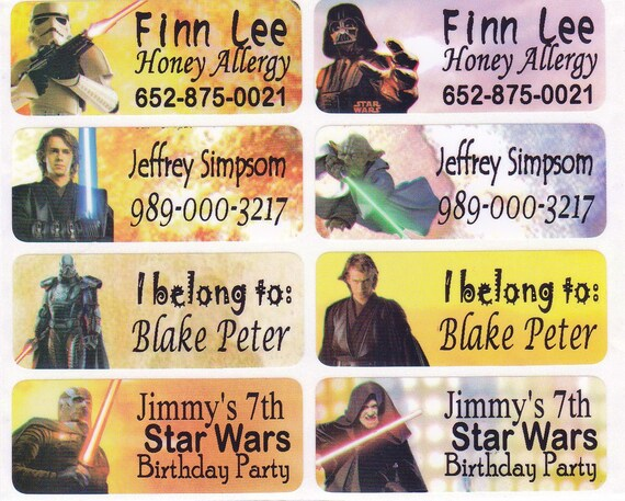 40 STAR WARS for boys Custom Waterproof Name Labels-School,Daycare,Nursery,Sippy Cup,Lunch Box, Allergic Label,Water Bottle,Summer Camp