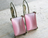 Pink Cats Eye Gemstone Sterling Silver Leverback Earrings