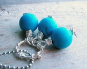 Aqua Blue Pendant - Turquoise Gemstone Pendant - Silver Wire Wrapped Pendant