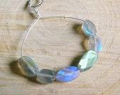 Labradorite Pendant - Silver Wire Wrapped Pendant - Blue Green Gemstone Pendant