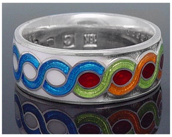 Sterling band in five colors enamels