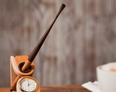 ON SALE CGWwoodworks Long Wood Pen With Desk Stand and Integrated Clock - Brown Black Zelkova & Ebony - Hand Crafted in Korea - The Best Me