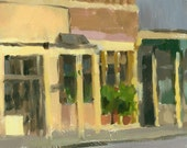 CLEARANCE landscape original oil painting 9 x 12 - Yellow Bar and Grill