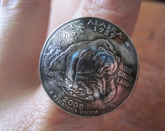 Domed Alaska State Quarter Statement Ring with Sterling Silver Band MADE TO ORDER.
