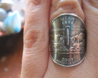 Wraparound Utah Quarter Ring with Sterling Silver Band MADE TO ORDER.