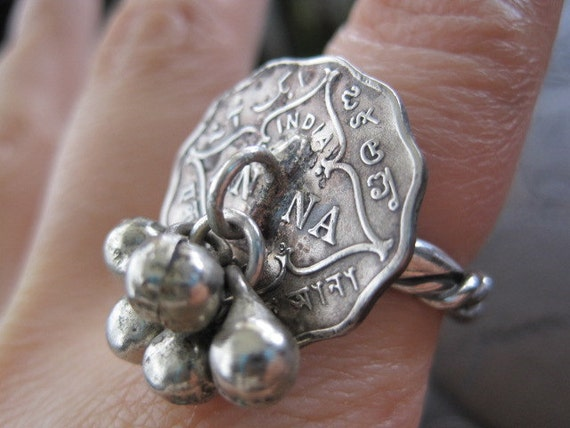 RESERVE FOR WVME Beautiful 1911 British India 1 Anna Coin Handmade Ring with Silver Twist Band and Steel Bells Size 7