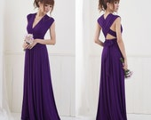 Ready to Ship - Floor Length Convertible/Infinity Dress in Deep Plum - Size S/M