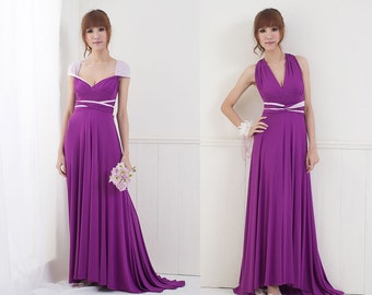SAMPLE SALE - Two Tone Convertible/Infinity Dress with Train - Size S/M