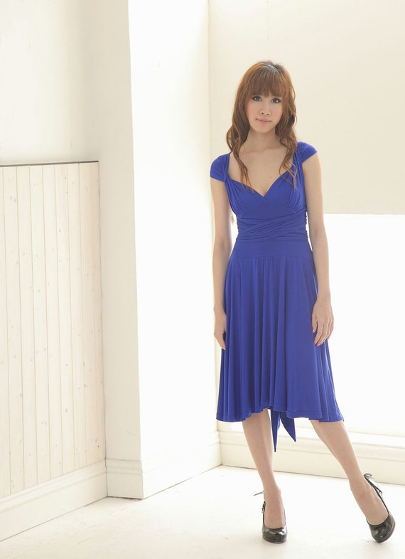 Reserved for Jen's Bridesmaid (Kristine) - Knee Length Convertible/Infinity Dress in Blue