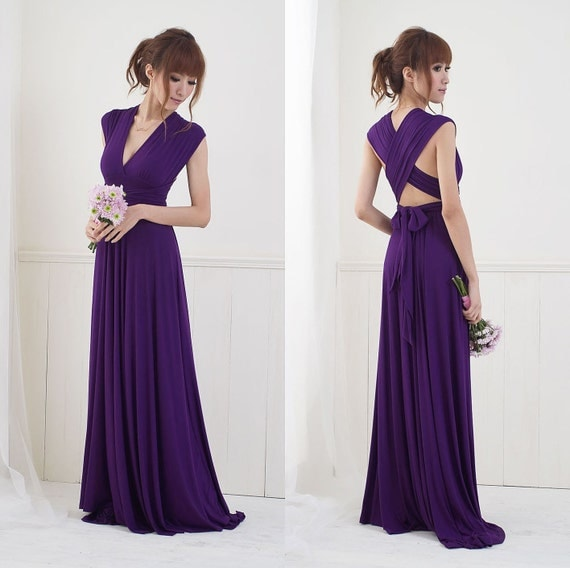 Reserved for Brittany - 4 Floor Length Convertible Dresses and Tube Tops in Deep Plum (down payment)